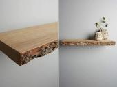 מדפי עץ לא גזום+קליפה